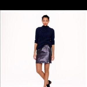 JCREW navy sequin skirt